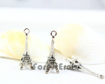 10Pcs 23x8mm Antique Silver Eiffel Tower Charm Pendant (PND091)