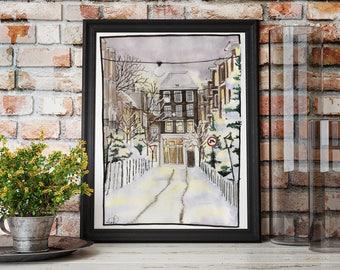 Winter Art Print / Snowy Winter Scene / Fine Art Print / Urban Sketch / Watercolor Art / Winter Illustration / Winter Painting