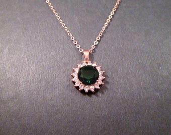 Cubic Zirconia Necklace, Emerald Green and White Pendant, Rose Gold Chain Necklace, FREE Shipping U.S.