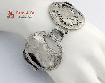 SaLe! sALe! Wide Coin Bracelet Antique Austrian Silver Coins