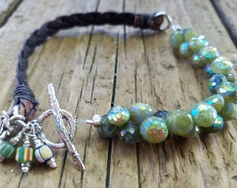 Mystic Vesuvianite Bracelet and Hill Tribe Silver, Braided Leather Bracelet, African Trade Bead, Flower Charm, Vesuvianite Jewelry