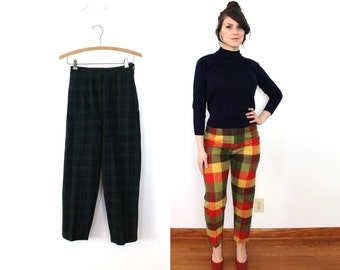 1960s Wool Cigarette Pants / 60s Plaid Wool High Waisted Capri Pants