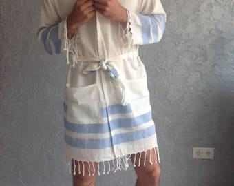 Turkish towel robe, unisex, Ecofriendly, Beach, SPA, Pool, Turkish Cotton robe, Bathrobe for Him, Bachelor party, father's day, blue