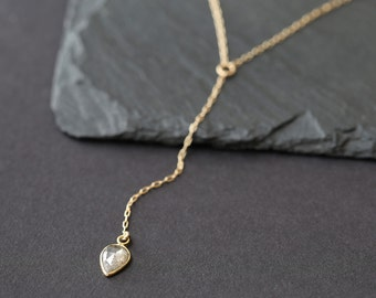 Custom Natural Rose Cut Diamond Lariat Necklace