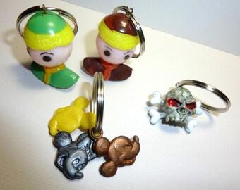 KEY CHAIN Crackerjack / Cracker Jack Vintage Charm Keychain / Mickey Mouse / Skull / Doll Head