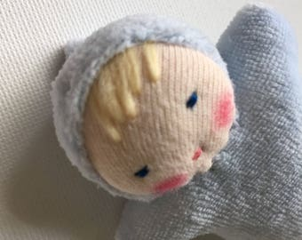 Small blue baby doll, Waldorf doll, toy for kids, handmade doll, pocket doll
