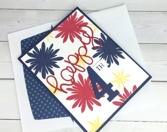 Handmade 4th of July Card - Independence Day  Card - Handmade Fireworks Card - Fourth of July Card - Hand Stamped Card - Stampin Up Card