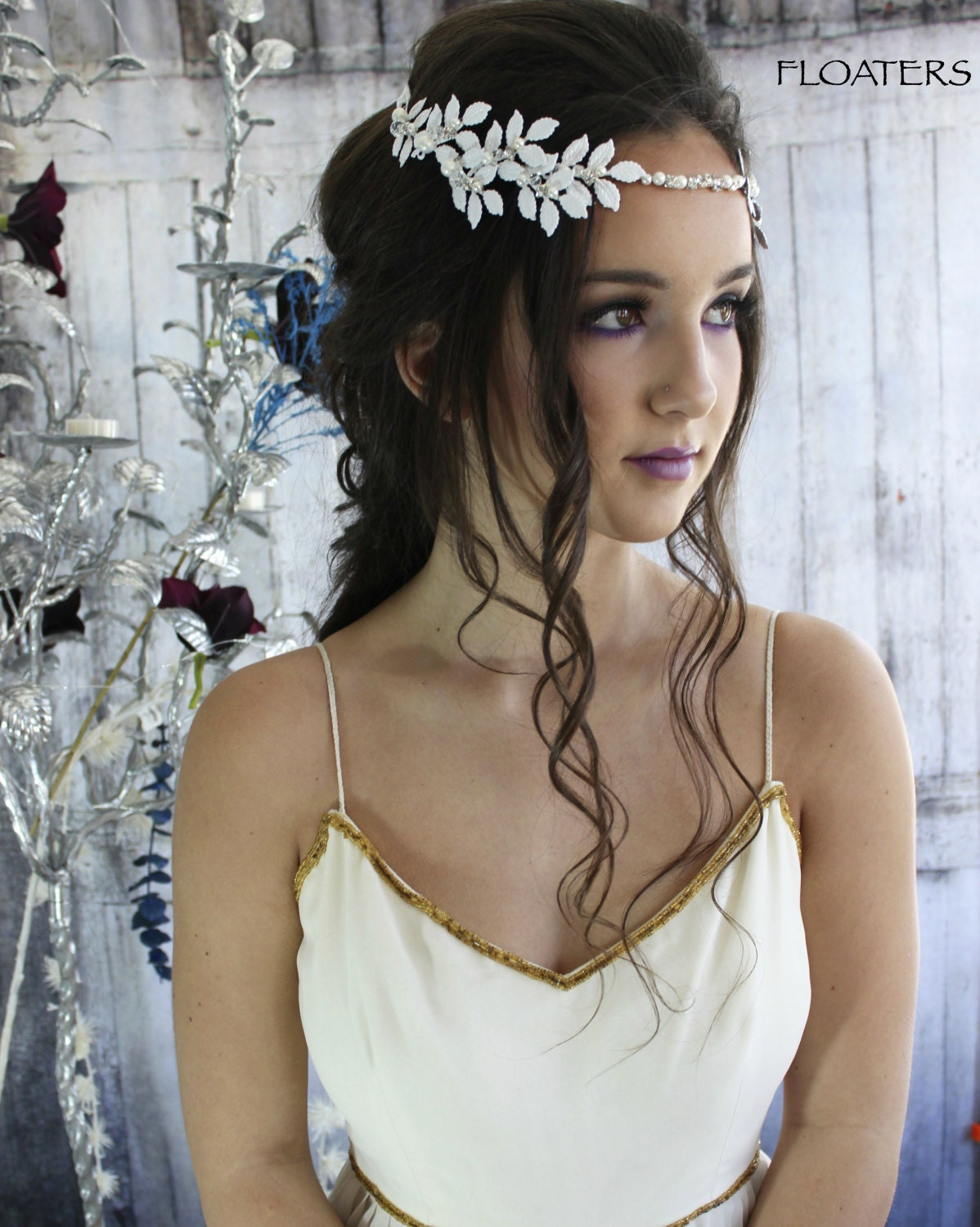 bridal hair wreath, white flower crown, bridal hair vine, flower