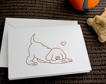 Puppy Dog Love - Stitched Card