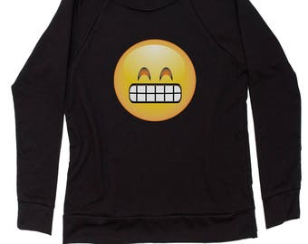 Color Emoticon - Grinning Smile Slouchy Off Shoulder Oversized Sweatshirt