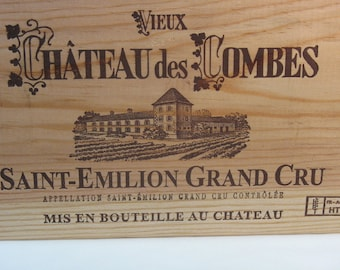 Wood crate front plate with engraving SAINT-EMILLION large french wine