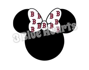 Boston Red Sox Minnie Head svg studio dxf pdf jpg png