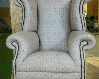 Luxurious, one of a kind, handmade wingback chair.