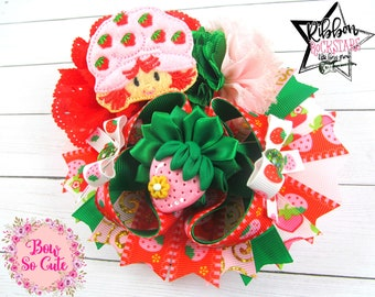 Layered Boutique Bow  - Strawberry Shortcake inspired