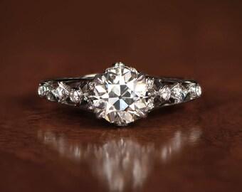 Edwardian Style Engagement Ring - Platinum and Diamond Ring
