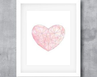 Printable Wall Art, Pink Watercolor Heart, Pink Gemstone, Geometric Heart, Love Print, Nursery Decor, Digital Print, 8x10, 11x14, 16x20