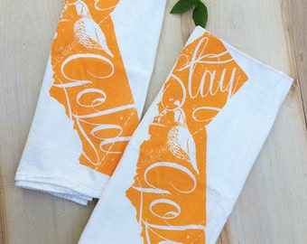 Set of 2 - California State - Multi-Purpose Flour Sack Bar Towels - Renewable Natural Cotton