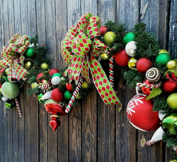 Christmas Garland, Holiday Garland, Mantel Garland, Fireplace Garland, Custom 9 Foot Pine Garland With Red, Green, and White Ornaments
