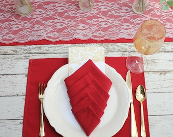 Red Placemats 12-pack, 12 x 16 inches Red Fabric Placemats for Weddings, Events, Hotels, and Restaurants, Red Wedding Table Decor