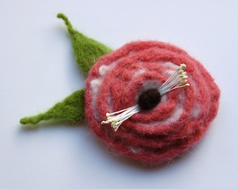 Felted flower brooch, hand felted flower item, round, shades of pink and black, felt flower hair clip