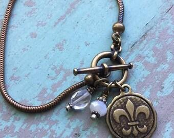 Antique Brass Fluer De Lis Bracelet