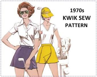 1970s Sportswear Sewing Pattern - Misses Golf Skirt, Skort - Kwik Sew 936 - Size 6 8 10 12 - Hip 34 36 38 - NOS UNCUT, Golf Wear, Golf Pants