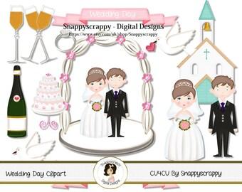Wedding Clip Art - Wedding Day Clipart, Bride and Groom Clip Art Set - CU4CU