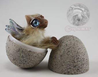Poseable Dragon Hatchling Egg Art Doll Handmade Creature Baby Fantasy Animal Brown Tan Mini Gift Mjalbertsculpts