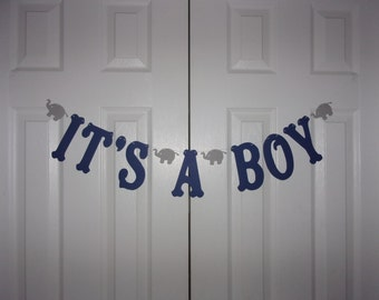 IT'S A BOY Letter Banner - Navy Blue & Grey Cardstock Paper - Elephant Garland - Wall Decor - Baby Shower Decoration