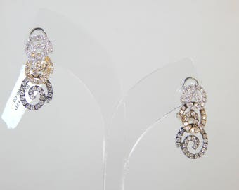 Exquisite 14K Two Tone Gold Earring 4.9G(WEIGHT) Diamond 1.01CT