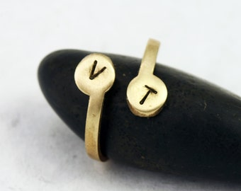 Personalized Ring - Custom Brass Initial Ring -Adjustable sizes 5-8 - Personalized Jewelry Collection - Gold Ring Color