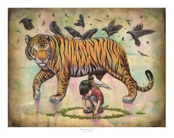 """Ring Of Faith - 16""""x 20"""" Pop Surrealism, Fantasy, LOWBROW, TIGER, Boy & Ravens Archival Signed Titled Fine Art PRINT by Fian Arroyo-Unframed"""