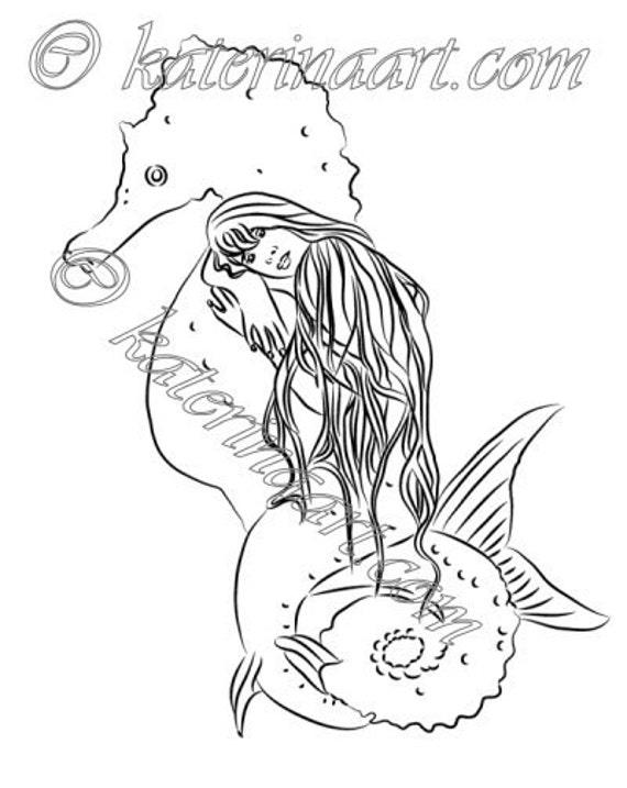 INSTANT DOWNLOAD Digi Stamps fantasy Digi Seahorse dreams