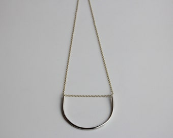 Sterling Silver Statement Necklace, Geometric Necklace, Silver and Gold Necklace, Bar Necklace, Silver Jewelry