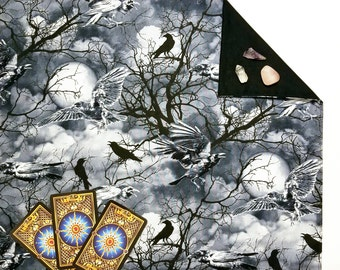 "Raven Sky Tarot Cloth or Altar Cloth 18"" x 20"" Velvet or Silk Lining Options"