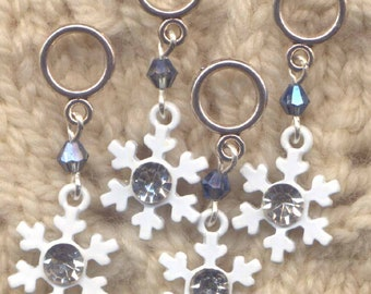 Bling Snowflake Knitting Stitch Markers Snowflakes Snow Sparkle  Set of 4 /SM301