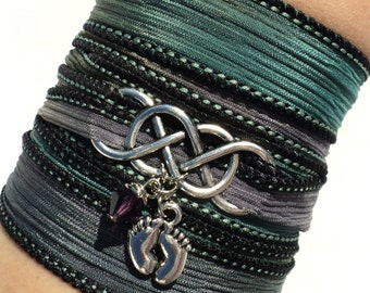 Infinity Silk Wrap Bracelet Expecting Mothers Baby Feet New Beginnings Yoga Eternity Boy Girl Mom Love Unique Gift For Her Under 50 Item A50
