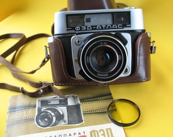 Vintage Russian Camera FED ATLAS 2.8/52 USSR with Lens Industar-61 With Instructions Soviet Rare!