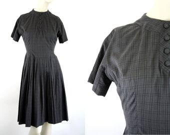 Maggi Stover Plaid Cotton Vintage Short Sleeve Day Dress