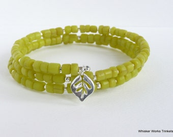 Memory Wire Bracelet -- Citron Lime Green -- Sterling Silver Cubes--Sterling Leaf Charm -- Indonesian Modern Trade Beads -- Recycled Glass