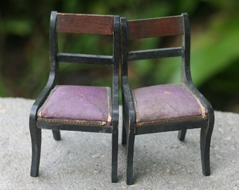 Dollhouse Miniature One Inch Scale 1:12 Aged Chairs