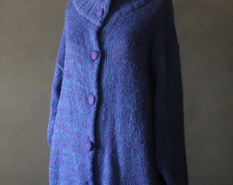 Vintage 80's Electric Blue and Purple Knit Button Up Cardigan Sweater by My, size M