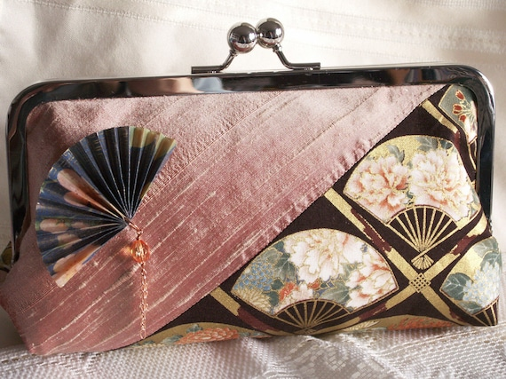 Handmade silk, cotton, embellished clutch handbag. Peach, green, brown, gold. Fan. YAEKO by Lella Rae on Etsy