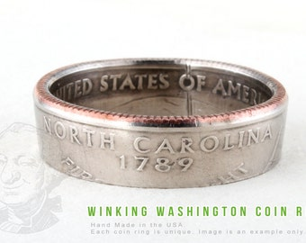 COIN RING - North Carolina State - Handmade in the USA - All Sizes Available
