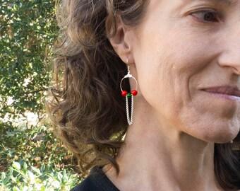 Small Delicate Earrings - Sports Gifts for Mom - Dangly Earrings - Chain Hoop Earrings - Fashion Earrings for Women - Soccer Earrings