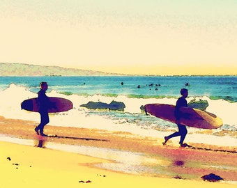 Watercolor Santa Monica Beach Surfers Pacific Ocean Surf Waves Fine Art Photograph Print Photography Digital Painting