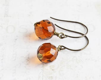Whiskey Brown Earrings, Topaz Dangle Earrings, Faceted Glass Earrings on Antiqued Brass Hooks, Fall Color Jewelry