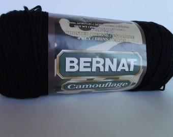 Bernat Camouflage Yarn in Color Bulls Eye Black, single skein only