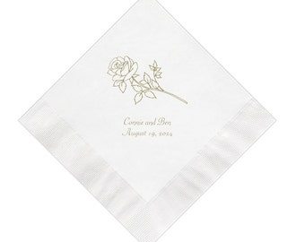 Rose Wedding Napkins Personalized Set of 100 Napkins