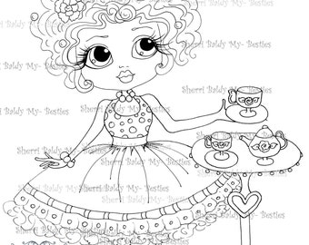 INSTANT DOWNLOAD Digital Digi Stamps Big Eye Big Head Dolls Digi  Afternoon Tea By Sherri Baldy